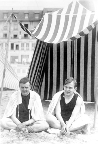 """Russell and F.O. """"Matty"""" Mathiessen on the beach at Normandy, 1925"""